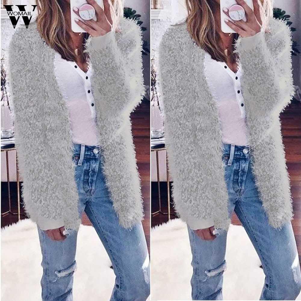 Womail damskie płaszcze moda damska jesień zima z długim rękawem płaszcz na co dzień kobiety 2019 S-2XL