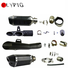 FLYPIG New Universal Stainless Steel Exhaust Muffler Tail Pipe Slip on 38mm-51mm Motorcycle Dirt Street Bike Scooter ATV Quad цена 2017