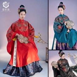 HanFu chinois vetement traditionnel Luan Feng et Ming Ming veste longue manches longues veste en or manteau robe de mariée femme grande taille