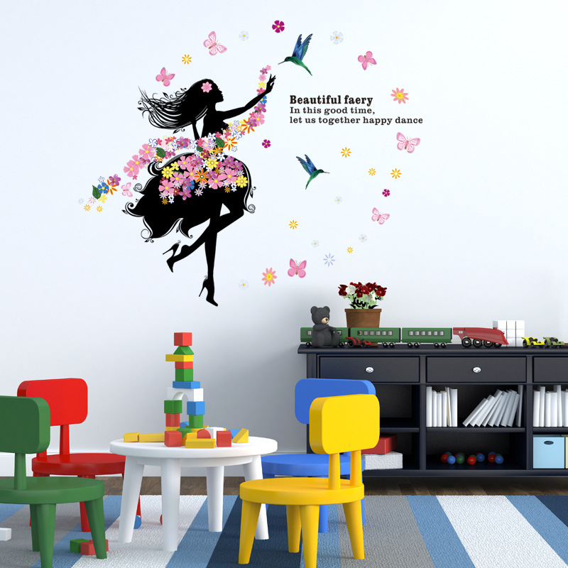 New Style Flower Fairy GIRL'S Europe And America Children <font><b>H002</b></font> TV Background Decorative Painting PVC Environmentally Friendly Gr image