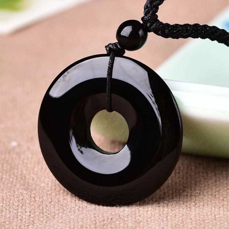 100% Natural Obsidian Safety Buckle Pendant Jewelry  Men And Women's Fine Jewelry Obsidian Transit Safety Buckle Pendant