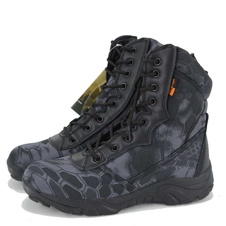 Camouflage Combat Boots Delta Hight-top Combat Boots 07 Python-Print Oxford Cloth Boots Hiking Shoes Magnum A Generation Of Fat