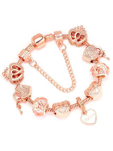 Boosbiy Luxury Brand Women Bracelet Unique Rose Gold Crystal Charm Bracelet For Women DIY Beads Bracelet & Bangle Jewelry Gift