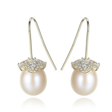 YUEYIN 925 Sterling Silver Earrings 3A for Women Freshwater Nature Pearl Jewelry Zircon 18K Gold Plated Fine Classic