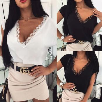 Plus size Women Summer T-shirt Sexy Solid Color Lace Patchwork Deep V Neck Short Sleeve Shirt Clothesing 2020 New womens tops sexy style jewel neck solid color voile splicing half sleeve t shirt for women