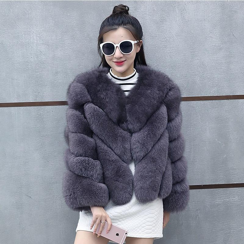 2019 New Winter Thick Warm Furry Faux Fur Coat Women Artificial Fur Coats Ladies High Imitation Jackets Outercoat LJLS108