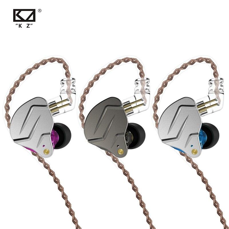 Наушники-вкладыши KZ ZSN Pro с монитором, металлические гибридные Hi-Fi наушники с басами, Спортивная гарнитура с шумоподавлением, 2 штырька