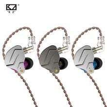 Kz fones de ouvido zsn pro, fones de ouvido, fones auriculares, intra auricular, tecnologia híbrida, graves, redução de ruídos, 2 pinos