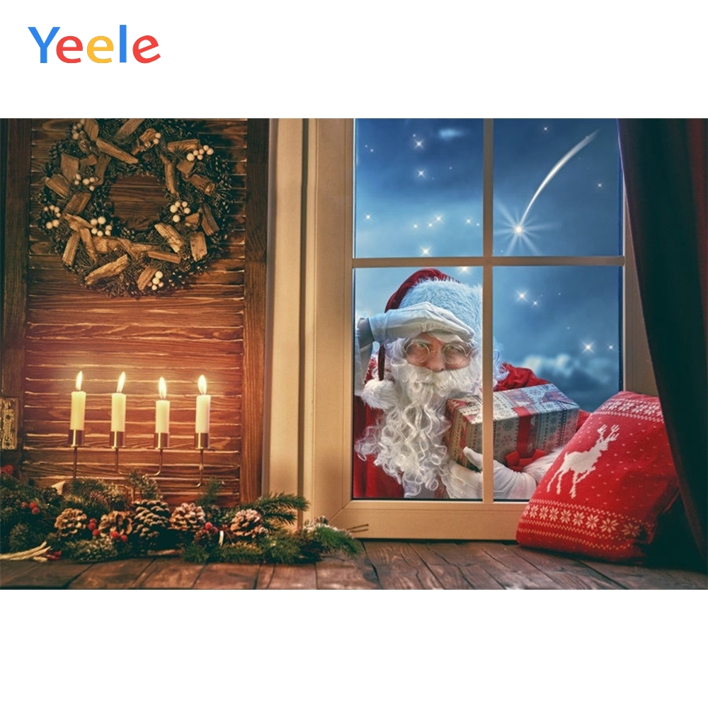 Christmas Backdrop Window Santa Claus Candle Ring Pine Photography Background For Photo Studio Baby Portrait Photobooth Vinyl