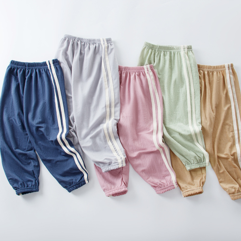 2020 Summer Thin Ice Silk Kids Girls Pants Striped Harem Pant for Children Boys Print Trousers Toddler Trouser 2-7Y  Sports Pant