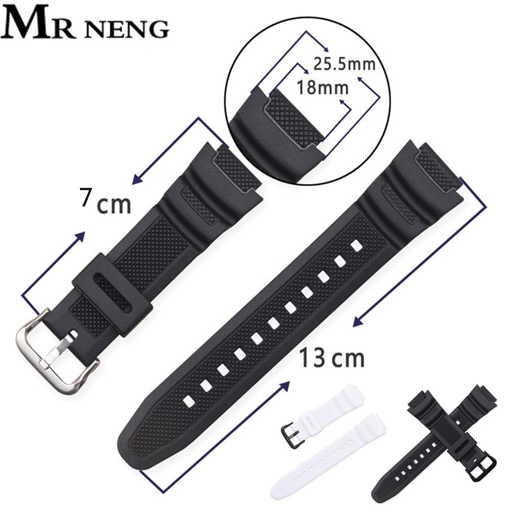 New Silicone Strap For Casio AE-1000w AQ-S810W SGW-400H / SGW-300H Rubber Watchband Pin Buckle Strap Watch Wrist Bracelet Black