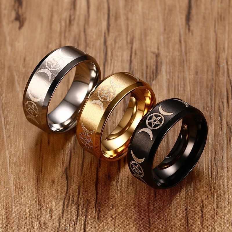 Uomo Triple Dea Pentacolo Anello per Gli Uomini in Acciaio Inox Falce di Luna e Pentagramma Maschile Gioielli in Oro Argento Nero anel