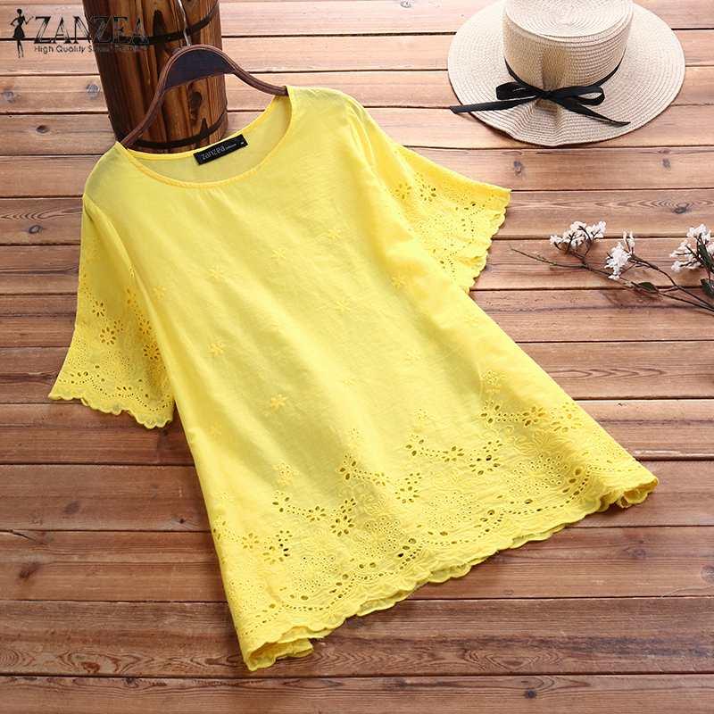 ZANZEA Summer Short Sleeve Blouses Women Tops Hollow Out Shirts Bohemian Floral Embroidery Blouse Solid Cotton Linen Blusas 7
