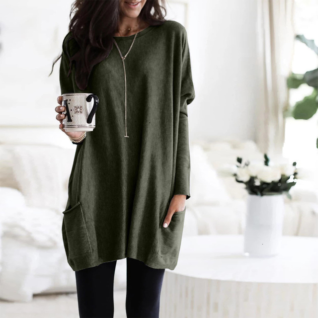 Casual Dress Women Autumn Loose O Neck Long Sleeve Pockets T-shirt Dress Solid Color Simple Winter Warm Plus Size Vestidos XXXL 6