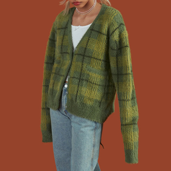 Green Plaid Cardigan Fuzzy Knit Front Button Cropped TY Cardigan Harajuku Women e-Girl Aesthetic Y2K Streetwear / 1