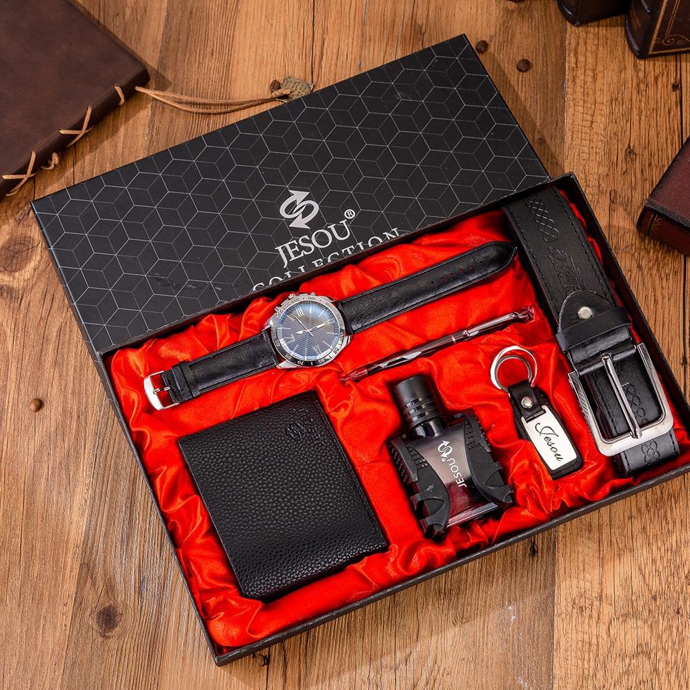 6pcs/set Men's Gift Women's 'gift Set Beautifully Packaged Quartz Watch+belt+Perfume+Wallet+sunglasses+tie+Key Chain Set