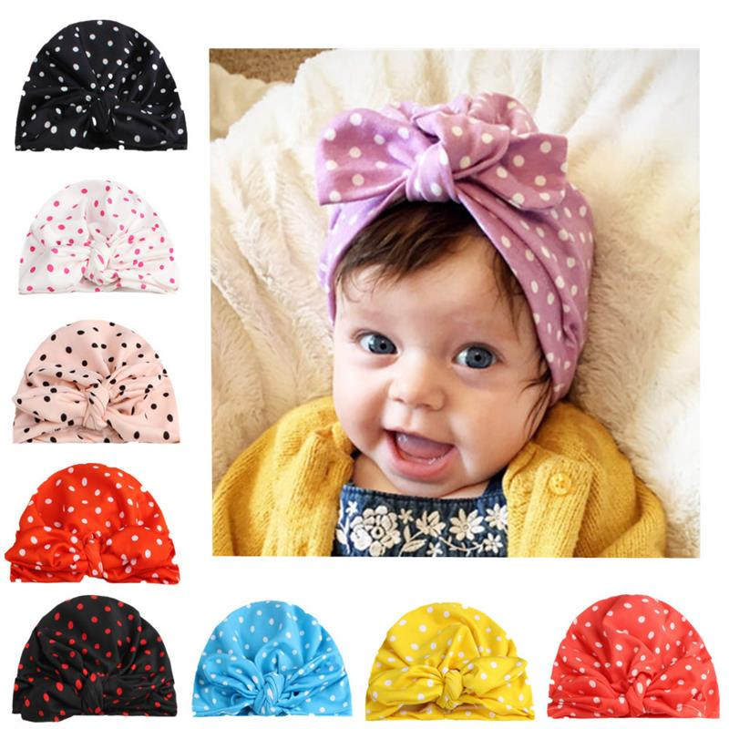 Solid Color PColka Dot Baby Hat Baby Rabbit Ears Knotted Hairband Hat Baby Skin-Friendly Hair Accessories