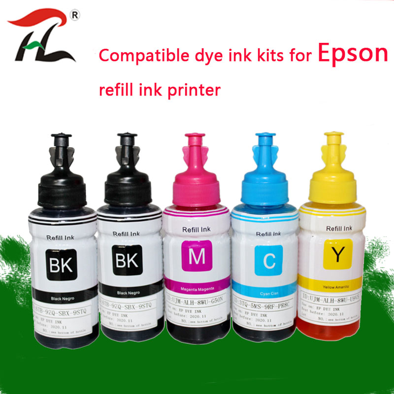 5PK Dye Ink For Epson L120 L132 L222 L310 L364 L380 L382 L486 L566 L800 L805 L1300 ET-2650 Printer T664 Refill Dye Ink For Epson