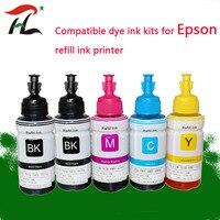 5PK Dye Ink For Epson L120 L132 L222 L310 L364 L380 L382 L486 L566 L800 L805 L1300 ET 2650 Printer T664 Refill Dye Ink For Epson|Ink Refill Kits| |  -