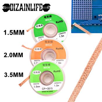 1 5mm 2mm 3 5mm szerokość 1 5M długość drut lutowniczy taśma rozlutownicza lutowanie spawanie Remover knot przewód zasilający Flux naprawa BGA Tool tanie i dobre opinie DIZAINLIFE NONE CN (pochodzenie) other cyna 1 5 2mm 3 5mm 104923