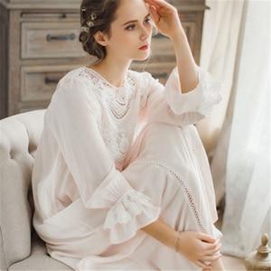Image 5 - Женское платье для сна, кружевное винтажное платье принцессы с длинным рукавом, элегантный синий светильник, летняя хлопковая ночная рубашка размера плюс, T25