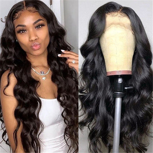 Cheap HD Lace Front Wigs Body Wave Brazilian Hair Synthetic Wigs Virgin Pre plucked Hair Wigs
