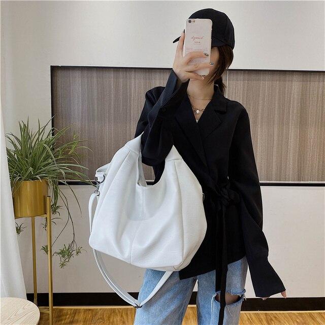 White Leather Women Half Moon Bags Large Capacity Hobo Shopper Bag Quality Soft PU Crossbody Bag Casual Korean Female Tote Bags