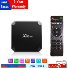 Melhor x96 mini caixa de iptv android 9.0 caixa de tv 1g 8g 2g 16g amlogic s905w x96mini smart ip tv conjunto caixa superior navio da frança