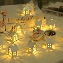 Светодиодный гирлянда с деревянным домиком светодиодный 10 светодиодный s комнатный Декор струнная лампа Свадебная вечеринка праздник сказочные огни Новинка лампа