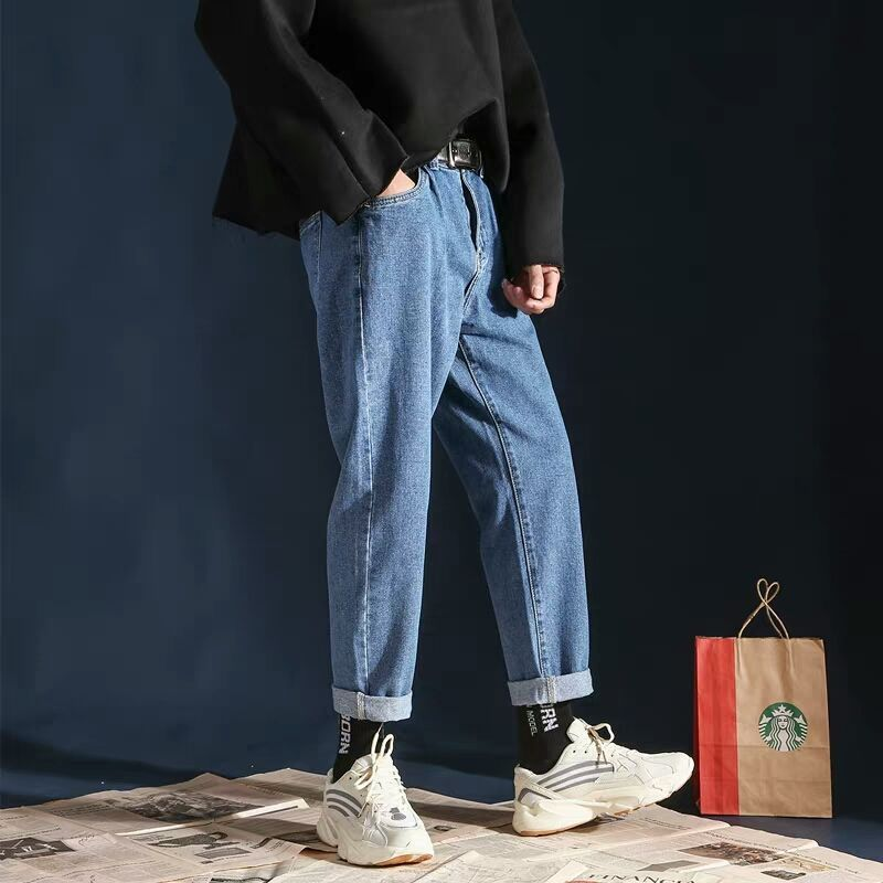 Wholesale 2019 Spring Autumn Jeans Men's Loose Retro Students Straight Solid Color Wide Leg Casual Teenagers Ankle Length Pants