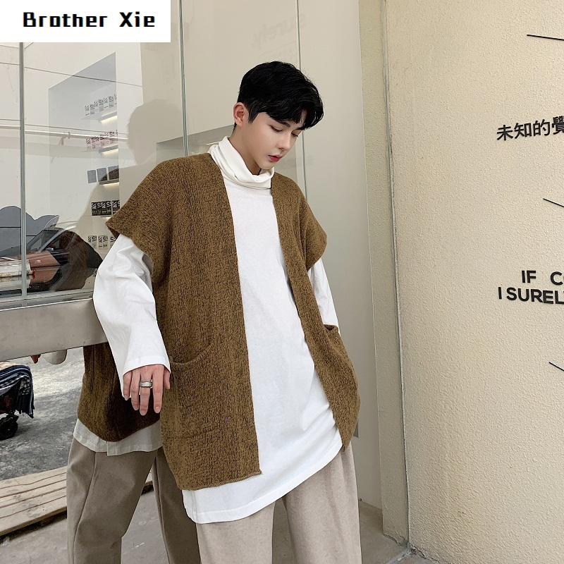 Winter New Sweater Cardigan Men Fashion Solid Color Casual Knit Pullover Vest Man Streetwear Hip Hop Loose Sleeveless Sweater