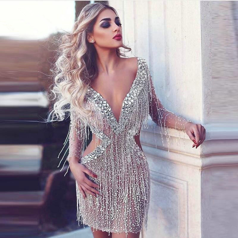 Sexy Cocktail Dresses 2019 Sheath Deep V Neck Long Sleeves Tulle Beaded Crystals Party Gowns With Tassels