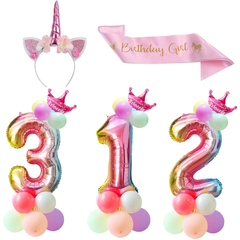 32inch Rainbow Number Balloon Foil Balloons Unicorn Birthday Party Girl Silk Sash Headband For Birthday Party Decoration Kids