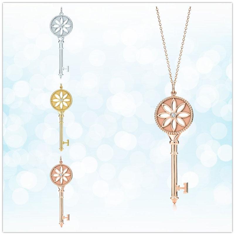 Sterling silver 925 classic popular original fashion key charm ladies necklace jewelry