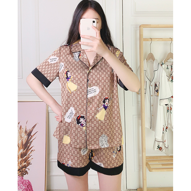 2020 Pajamas Women's Net Red Famous Spring And Summer Faxu Silk Cute Cartoon Cardigan Short-Sleeved Shorts Homewear Set