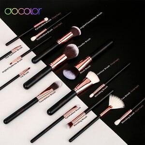 Image 4 - Docolor 15 makyaj fırçası seti vakfı pudra göz farı makyaj fırça sentetik saç keçi kılı fırça seti makyaj araçları