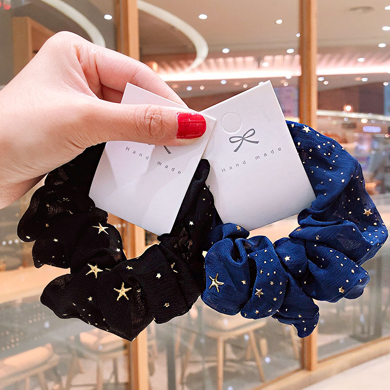 Print Stars Soft Elastic Girls Sweet Hair Bands  Women Dreamy Ponytail Holder Scrunchie Headband Rubber Fashion Hair Accessories