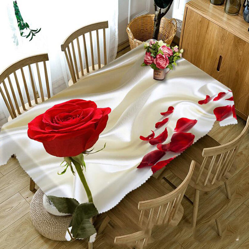 Fashion 3D Tablecloth Magnolia Flower Pattern Dustproof Dining Table Table Cloth Red Rose Wedding Holiday Polyester Table Cover