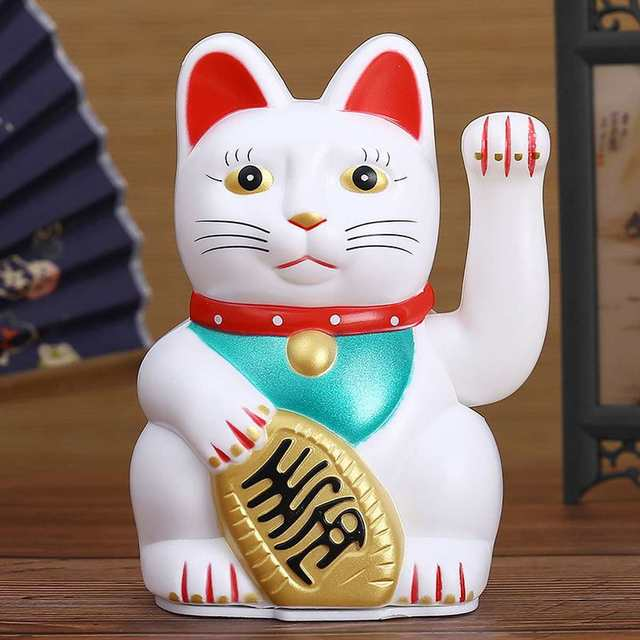 16 cm/6.29inch Chinese Lucky Cat Waving Cat Figure with Moving Arm Feng Shui Decor Black/white