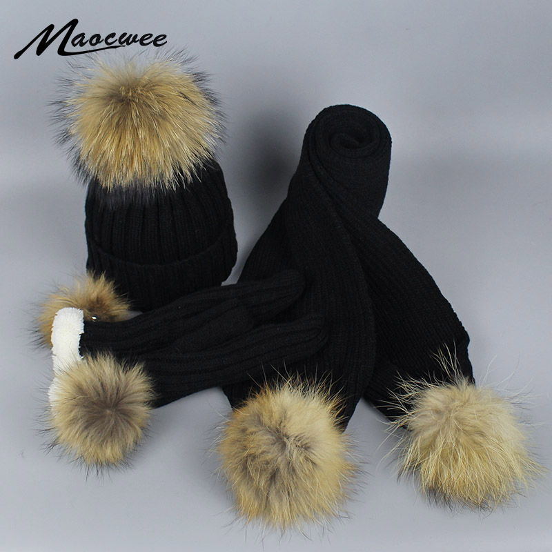 Real Fur PomPon Skullies Beanies Hat Scarf And Gloves Three-piece Set For Women Knitting Autumn And Winter Warm Cap With Lining