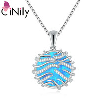 Chakra Stones Blue & White Fire Opal Zircon Silver Women Fashion Jewelry Pendant Chakras Reiki Pendant Trendy Jewelry OD7118-19(China)