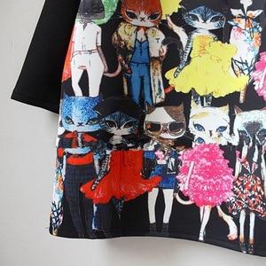 Image 4 - נשים חתול חמוד Cartoon הדפסת שמלה מזדמן רופף ארוך שרוול בתוספת גודל שחור ישר מסיבת אלגנטי בציר מיני שמלות
