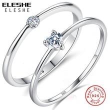 ELESHE, модные, 925 пробы, серебряные, сверкающие, прозрачные, CZ Кристаллы, кольца для женщин, обручальные кольца, серебряные ювелирные изделия, подарок на день Святого Валентина