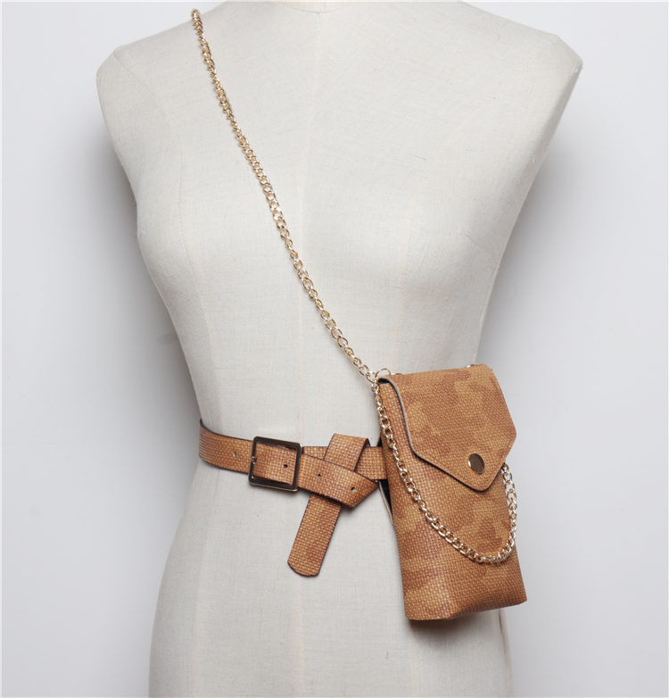 2019 Chic Vintage Vertical Waist Bag Women Crossbody Bag PU Leather Belt Waist Packs Ladies Phone Wallet Chain Shoulder Bag