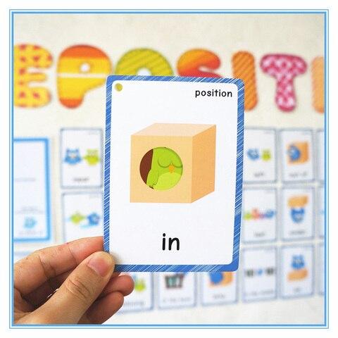 36 pces flashcards para criancas e 1pc ingles poster posicional preposicao aprendizagem cartao sala de