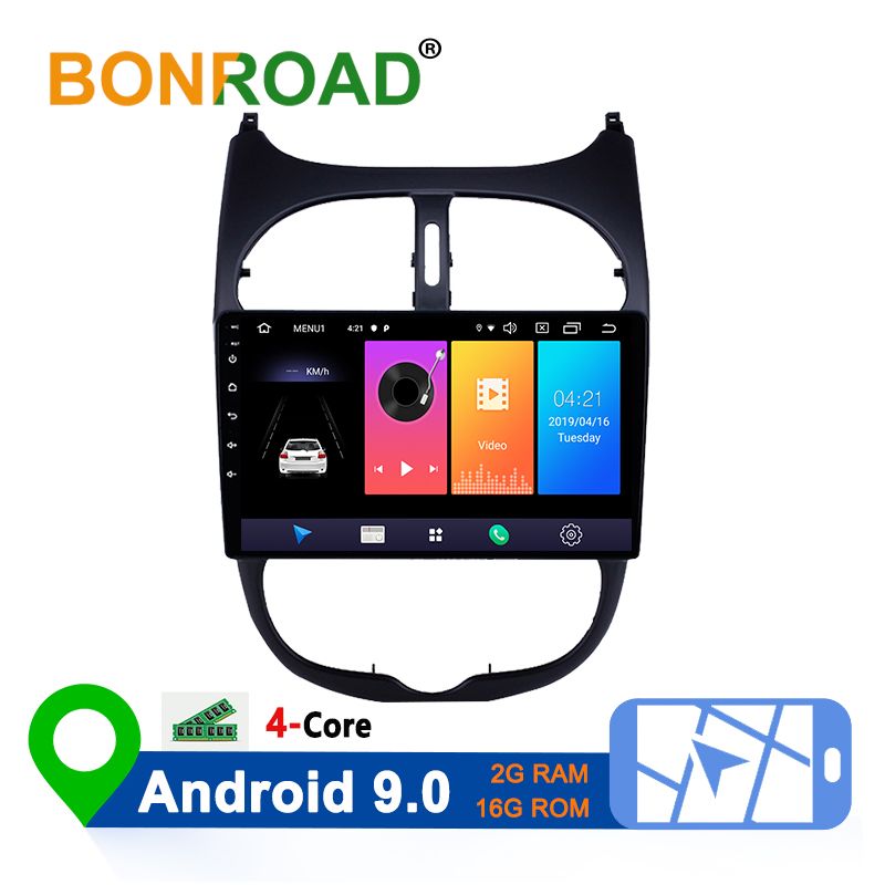 Bonroad Car GPS Navigation Radio Multimedia Video Player For <font><b>Peugeot</b></font> <font><b>206</b></font> 2000 2002 2004 2006 2008 2016 Wifi RDS WSC HD <font><b>Screen</b></font> image
