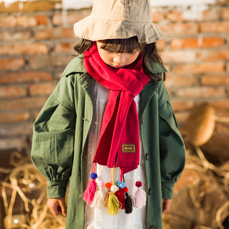 New Style Children Solid Color Faux Cashmere Scarf Women's Monochrome Tassels Scarf Autumn And Winter Warm Shawl