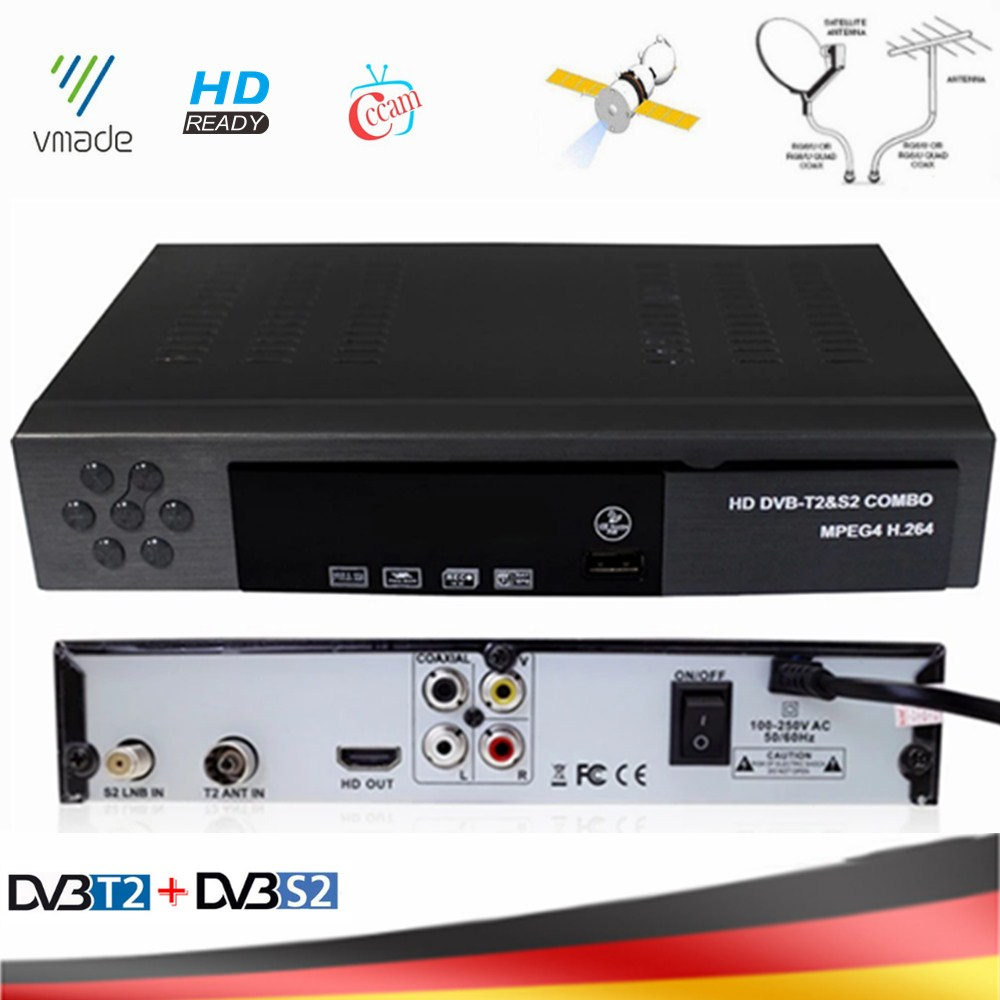 Vmade DVB-T2 DVB-S2 2 In 1 Combo HD Digital Terrestrial Satellite Receiver MPEG-2/4 Support AC3 Cccam Bisskey IPTV TV Box