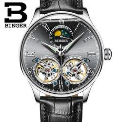 Szwajcaria mężczyźni zegarki BINGER szkielet automatyczny zegarek mężczyźni self-wiatr luksusowy zegarek mechaniczny relogio masculino 2019