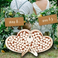 Unique Double Heart Wedding Guest Book Signature Sign with 100 Wood Hearts Drop Frame Rustic Wedding Party Table Decoration